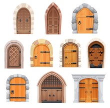 Metal And Wooden Medieval Doors And Gates. Castle Entries Cartoon Vector Design With Stone Arched Doorjambs, Forged Decoration And Ring Knobs. Fairytale Palace, Fortress Building Exterior Elements Set