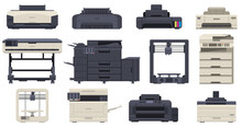Printer Office Work Professional Scanner Copier Machines. Office Technology Printing Devices, 3d Printer, Copier Vector Illustration Set. Multifunction Office Machines
