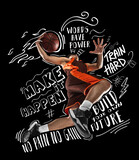 Sportive young man, male basketball player in motion and action with ball isolated on black background with white lettering, graphics and drawings
