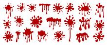Happy Halloween Blood Drops. Red Hand Drawn Paint Splatter, Ink Splatter Background, Liquid Melt. Horror Leak. Vector Isolated Illustration.