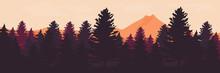 Forest Landscape Vector Illustration Good For Backdrop, Wallpaper, Background, Banner, And Design Template