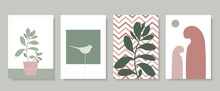 Set Of Vector Art Paintings. Botanical Posters For Home In Minimalist, Boho, Hygge Style. Abstract Design Of Plants, Birds, For Prints, Covers, Wallpapers, Minimalistic And Natural Wall Art.