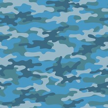Military Camouflage Blue Print Seamless Vector Pattern. Green Background .modern.