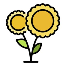 A Pair Of Sunflowers Icon. Outline A Pair Of Sunflowers Vector Icon Color Flat Isolated