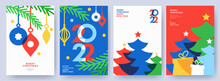 Merry Christmas And Happy New Year Set Of Greeting Cards, Posters, Holiday Covers. Modern Xmas Design In Blue, Green, Red, Yellow And White Colors. Christmas Tree, Balls, Fir Branches, Gifts Elements