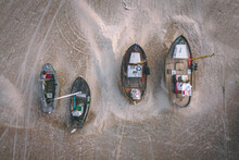 Fishing Boats Pulled Ashore On Thorup Strand In Denmark