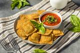 Fototapeta Kawa jest smaczna - Homemade Fried Raviolis with Basil