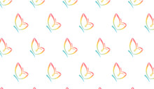 Lovely Butterfly Blend Pattern For Baby Products, Preschool, Kids Wear Brands, Fabric Using Colors Pink, Green, Red, Blue, Yellow