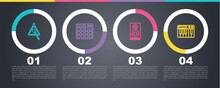 Set Line Triangle, Drum Machine, Stereo Speaker And Music Synthesizer. Business Infographic Template. Vector