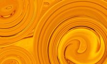 Abstract Bright Luminous Orange Yellow Screen Background. Heat Effect Art Trippy Digital Backdrop. Vibrant Banner. Template. Swirl. Whirlpool Tunnel. New Innovation Technology Concept. Autumn Mood.