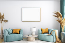 Mockup Frame Horizontal A4 In Farmhouse Style ,3d Render