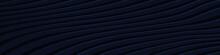 Dark Blue Wide Banner. Navy Blue Texture Striped Wave Lines Modern Pattern Horizontal Background. Web Design Template Vector Illustration EPS 10.