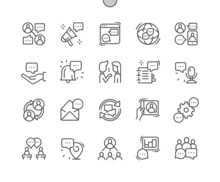 Discussion. Speech Bubble. Dialogue, Message And Video Call. Talking, Speak, Communication And Connection. Pixel Perfect Vector Thin Line Icons. Simple Minimal Pictogram