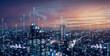 Telecommunication connections above smart city. Futuristic cityscape concept for internet of things (IoT), fintech, blockchain, 5G LTE network, wifi hotspot access, cyber security, digital technology
