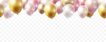 Balloon Seamless Border Isolated On Transparent Background. Vector Realistic Gold, Pink, Bronze, Golden Rose, White And Silver Festive 3d Helium Balloons For Anniversary, Birthday Party Design