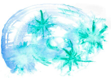 A Bright Festive Winter Illustration In Cool Tones To Create A Happy Christmas Mood. Large Watercolor Azure Green Stars In A Rounded Blue Frame. Stylish Seasonal Wallpaper Or New Year Card.