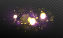 Christmas Abstract Pattern. Purple Fireworks Explosion Dust Vector. Festive Purple And Golden Luminous Background With Golden Colorful Lights Bokeh. Colorful Blue Bokeh Effect.