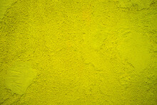Subdued Intense Yellow Painted House Wall, Exterior Or Interior Decoration, With Texture And Large Empty Text Space.