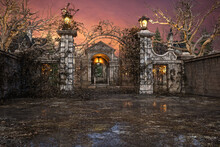 3D Rendering Of A Creepy Old Overgrown Cemetery With A Mausoleum Behind The Open Iron Gates.