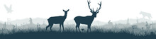 Seamless Panorama Of The Prarie With Deers, Eagle, Prairie Dog And Gray Wolf