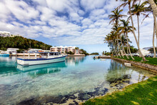 Pleasure Craft Moored At The Village Of Flatts In Bermuda