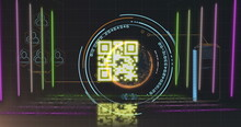 QR Code Scanner With Neon Elements Against Data Processing And Spinning Globe