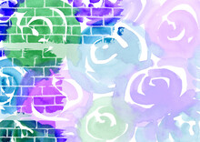 Multicolored Watercolor Hand Drawn Abstract Background. Green, Turquoise, Blue, Violet And Purple Colorful Spots And Splashes Roses And Brick Wall Texture. Backdrop Of Spot For Packaging And Web