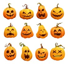 Cartoon Halloween Pumpkins, Jack O Lantern Isolated Scary Characters. Halloween Pumpkin Lanterns, Cute Happy With Scary Smile On Face, Horror Holiday And Spooky Night Pumpkins With Creepy Carvings