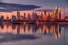 Melbourne, Victoria, Australia - August 2021: Melbourne City Skyline At Dusk, From The Royal Melbourne Yacht Squadron Marina On Port Phillip Bay In St Kilda.