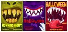 Halloween Party Vector Flyers With Monster Mouth, Cartoon Invitation Posters With Open Zombie Or Alien Toothy Jaws With Teeth, Tongue And Dripping Slime. Happy Halloween Horror Night Event Invite Card
