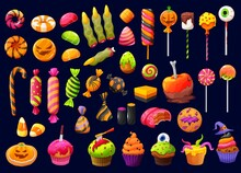 Halloween Cartoon Candies And Lollipops With Witch Fingers, Candy Corn And Pumpkin Cupcakes, Vector. Halloween Trick Or Treat Sweets, Chocolate Skulls And Liquorice Bones, Spooky Cakes And Cookies