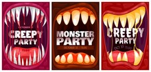 Halloween Party Poster Or Flyer Background, Vector Monster Celebration Holiday. Happy Hallowing And Party Invitation Poster With Dead Monster Or Vampire Teeth And Blood In Mouth Treat Or Trick Holiday