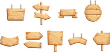 Vector Cartoon Set Of Old Wooden Panels, Square And Round Wooden Boards And Direction Signs Isolated On A White Background. Wooden Signs, Boards And Signs In Different Shapes, Arrows.