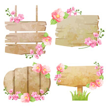 Vector Wooden Sign Board And Flower Plant In Green Grass. Cartoon Old Wood Sign Post