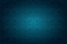 Dark Blue Vintage Background , Royal With Classic Baroque Pattern, Rococo. Background For Covers, Postcards, Ads, Leaflets, Labels, Posters, Banners And Invitations. Vector