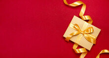 Festive Template Or Banner With Christmas Gift Box Decorated With A Bow
