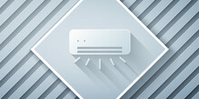Paper Cut Air Conditioner Icon Isolated On Grey Background. Split System Air Conditioning. Cool And Cold Climate Control System. Paper Art Style. Vector