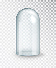 Glass Dome.Transparent Glass Cover. Vertical Empty Dome Isolated On Transparent Background.