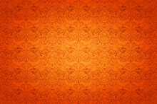 Royal, Vintage Horizontal Background In Orange With A Classic Baroque Pattern, Rococo. Autumn Background, Illustration For Covers, Postcards, Ads, Leaflets, Labels, Posters, Banners And Invitations