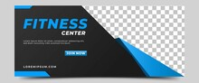 Gym, Fitness, And Sports Horizontal Banner Template Design. A Dark Background Color With Abstract Blue Shape Ornament And Place For The Photo. Usable For Banner, Cover, And Header.