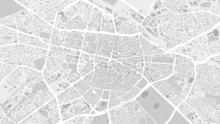 White And Light Grey Sofia City Area Vector Background Map, Streets And Water Cartography Illustration.