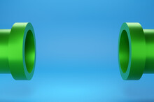 Minimal Scene Green Podium On Blue Background. Geometric Shape.3D Rendering.Use For Product Showcase.