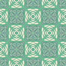 Seamless Checkered Pattern. Chess Order. Green And Yellow Shades.