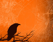 Black Raven Bird, Bare Tree Branches And Spider Web Against Shabby Orange Background - Halloween Theme Vector Copy Space Backdrop Design