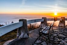 Lookout Terrace On Jested Mountain Summit. Sunny Autumn Evening Sunset. Liberec, Czech Republic.