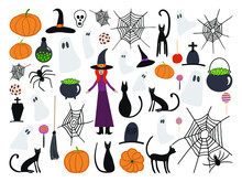 Halloween Vector Elements Set. Witch, Kettle, Pot, Spiders Web, Pumpkin, Cat, Tale, Skull, Rip, Grave, Spider, Ghost, Lollypop, Apple In Caramel, Hat, Cookie, Bottle, Potion.