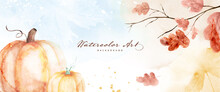 Watercolor Autumn Abstract Background With Pumpkin And Seasonal Leaves