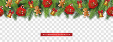 Christmas Holiday Seamless Border With Green Christmas Tree Branches, Red Present Boxes And Gingerbread Man Cookies - Colorful Isolated Vector Illustration