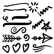 Arrows, Swirls, Swoosh, And Heart Elements For Greeting Card Design