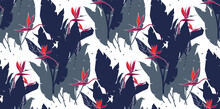 Seamless Horizontal Pattern With Strelitzia Flowers And Leaves. Floral Print With Bird Of Paradise Or Crane Flower. Texture With Plants For Fabric, Web Banner, Poster. Silhouettes Of Tropical Foliage.